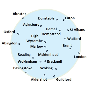 coverage radius 30 miles of High Wycombe, includes: Bicester, Dunstable, Luton, Aylesbury, Hemel Hempstead, Oxford, St Albans, Abingdon, Marlow, Watford, Marlow, Brent, Reading, Maidenhead, London, Wokingham, Bracknell, Basingstoke, Woking, Aldershot, Guildford